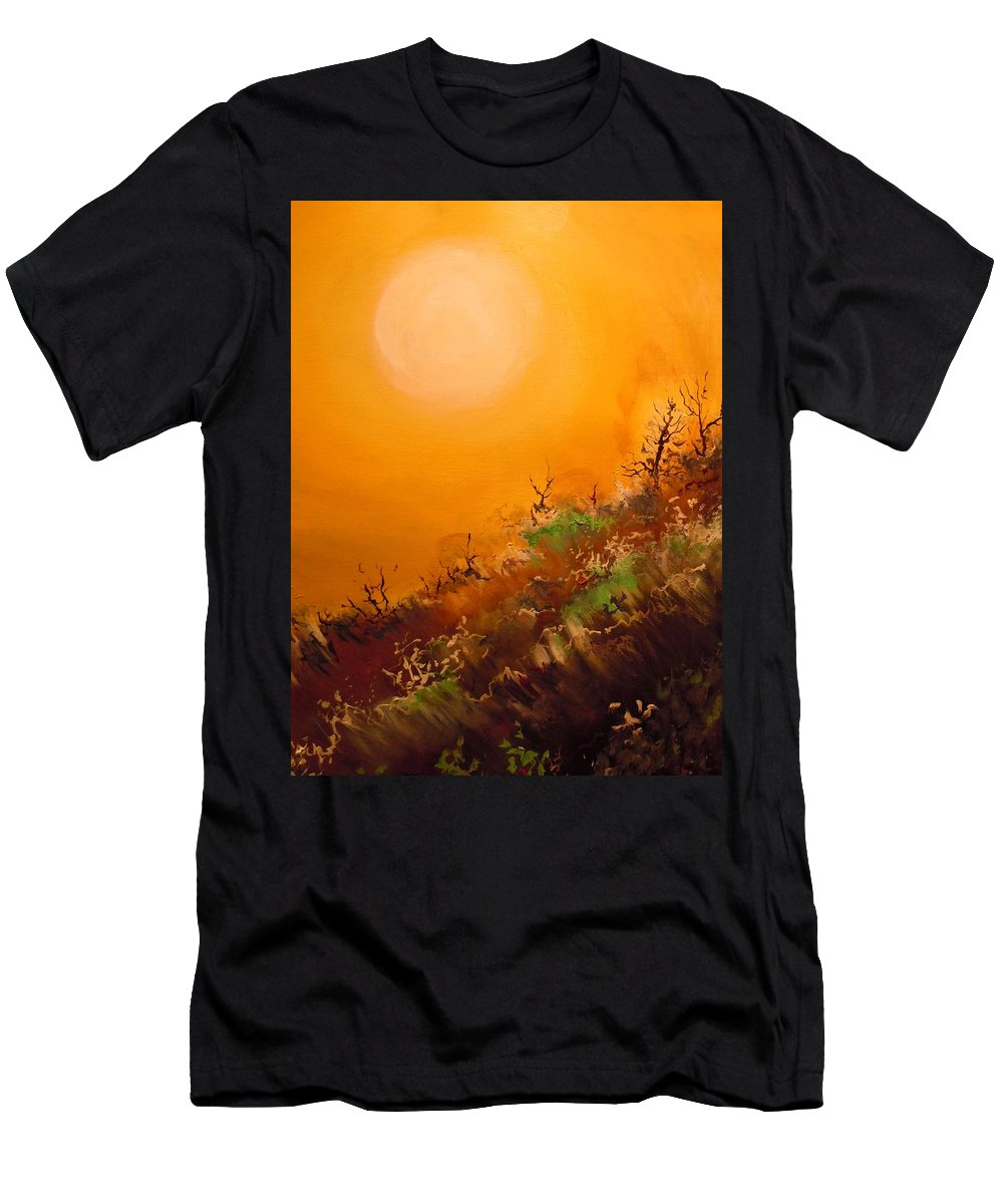 Desert Evening Men's T-Shirt (Athletic Fit) featuring the painting Hot Desert Evening by Dan Whittemore