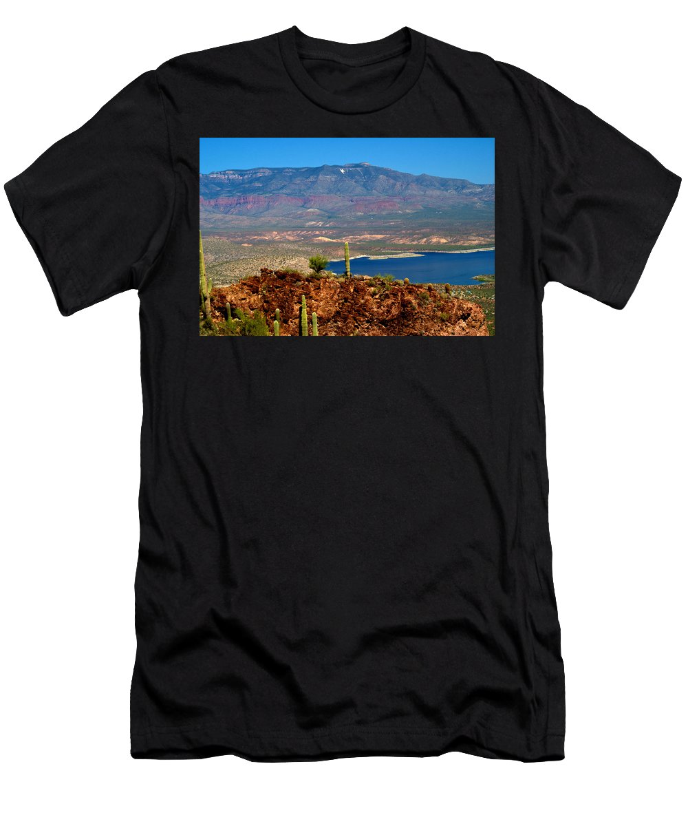 Desert Men's T-Shirt (Athletic Fit) featuring the photograph Desert Lake by Bob Welch
