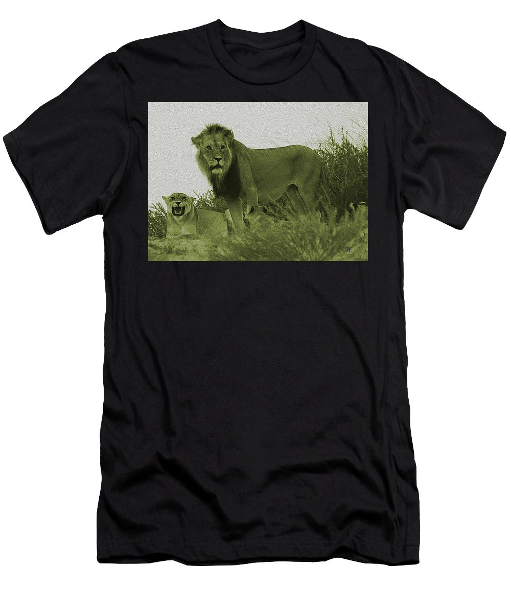 Lion Men's T-Shirt (Athletic Fit) featuring the photograph Desert Lions by Hennie Van Wyk