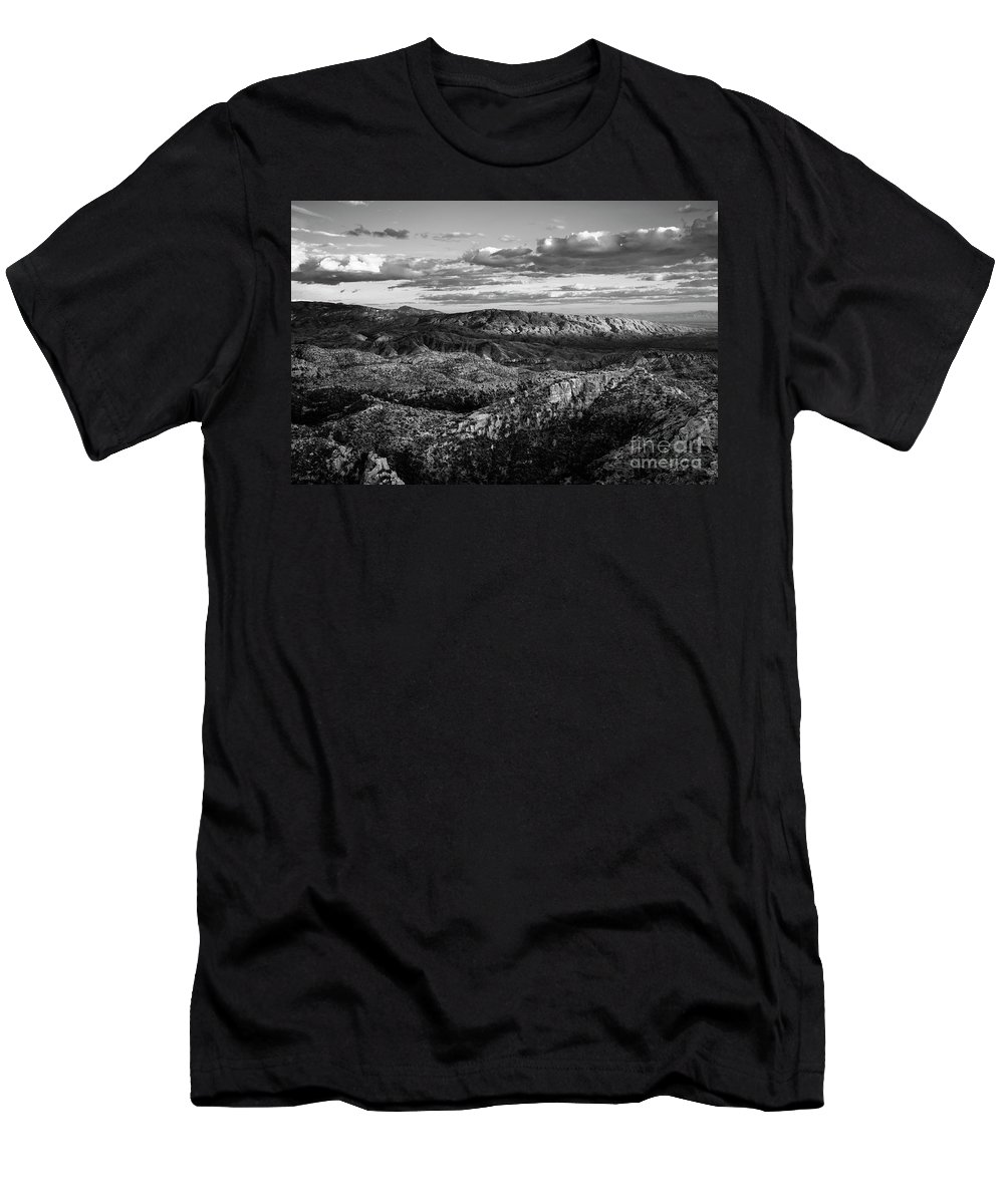 Desert Men's T-Shirt (Athletic Fit) featuring the photograph Desert Overlook #2 Bw by Korrine Holt
