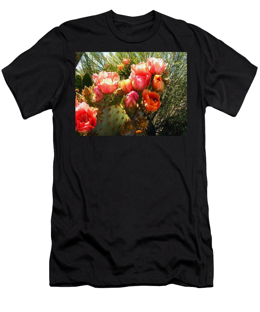 Cactus Blooms Men's T-Shirt (Athletic Fit) featuring the photograph Desert Perfection by Marilyn Smith