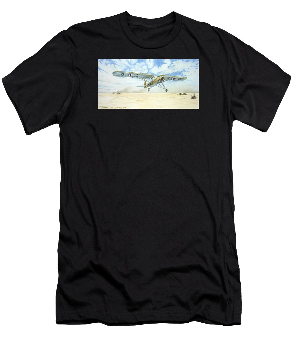 Wwii Men's T-Shirt (Athletic Fit) featuring the painting Desert Storch by Marc Stewart