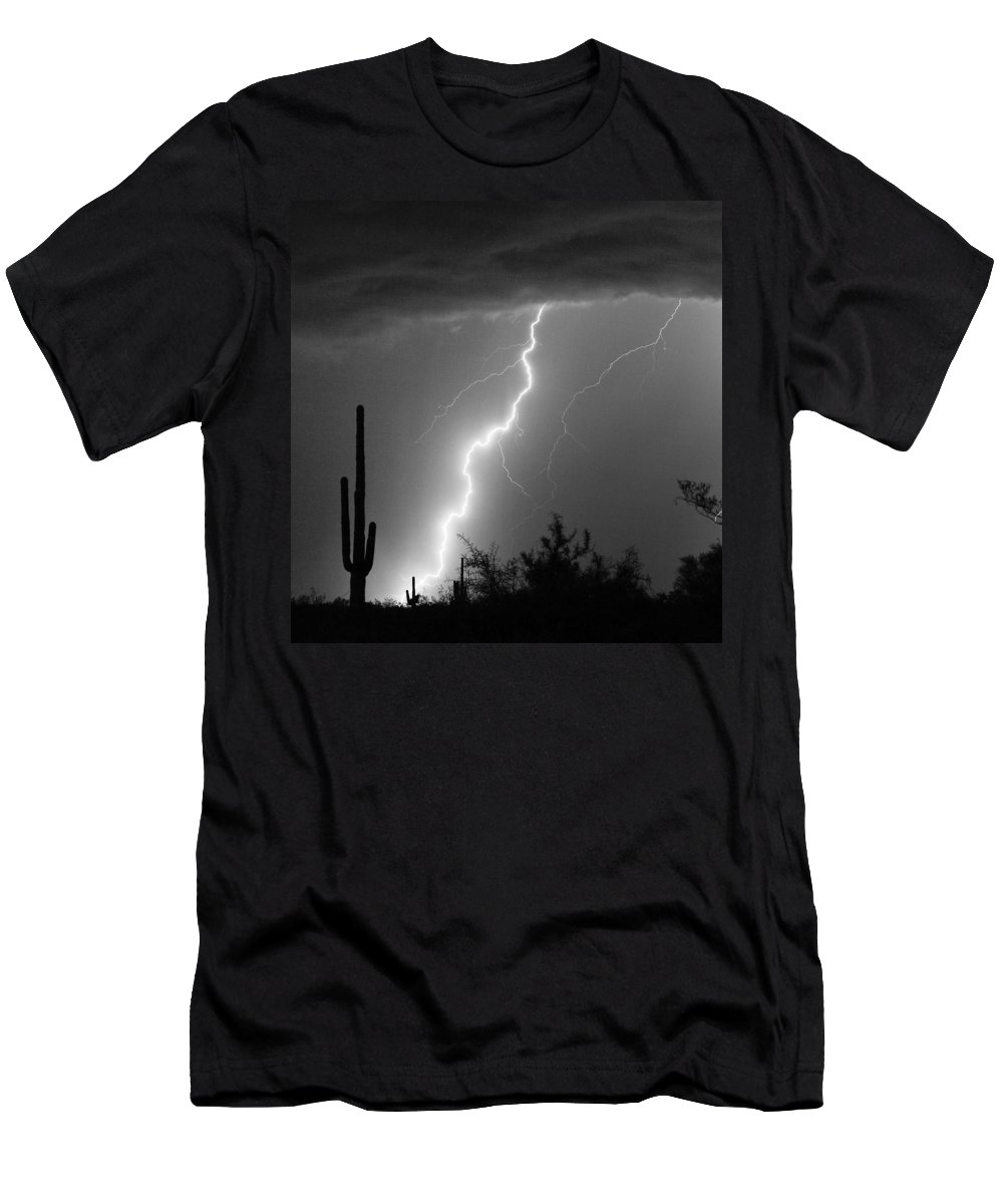 Black And White Men's T-Shirt (Athletic Fit) featuring the photograph Desert Striking In Black And White by James BO Insogna