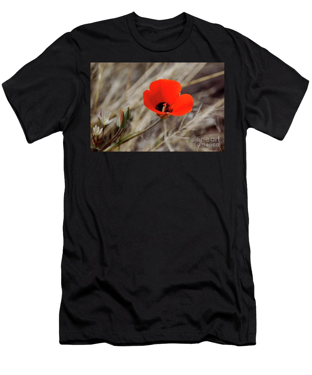 Desert Flower Men's T-Shirt (Athletic Fit) featuring the photograph Desert Wildflower by Frank Stallone