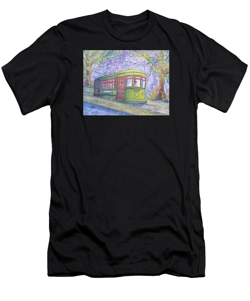 Streetcar Men's T-Shirt (Athletic Fit) featuring the painting Desire Street Streetcar by Catherine Wilson