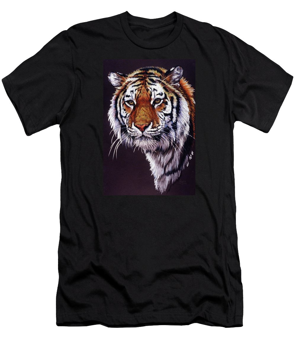 Tiger Men's T-Shirt (Athletic Fit) featuring the drawing Desperado by Barbara Keith