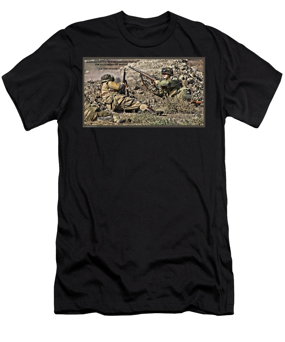 Destiny Men's T-Shirt (Athletic Fit) featuring the photograph Destiny - Us Army Infantry by Tommy Anderson