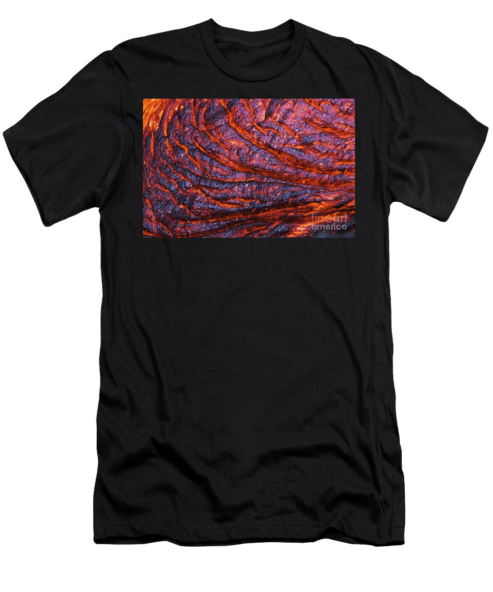 Abstract Men's T-Shirt (Athletic Fit) featuring the photograph Detail Of Molten Lava by Ron Dahlquist - Printscapes