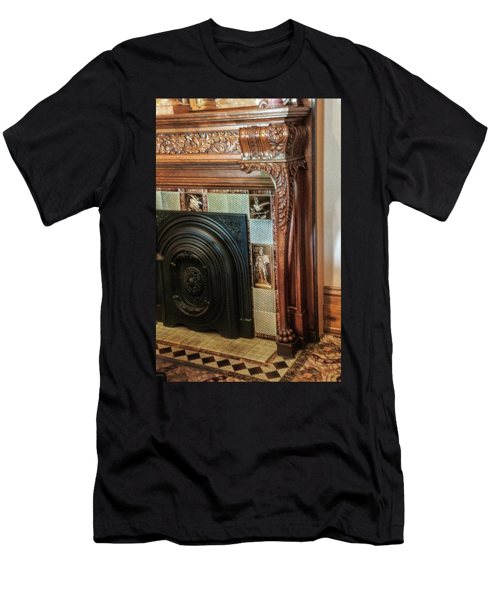 Detail Of Wood Carving And Tiles Of Historic Home Fireplace Men's T-Shirt (Athletic Fit) featuring the photograph Detail Of Wood Carving And Tiles - Historic Fireplace by Phyllis Taylor