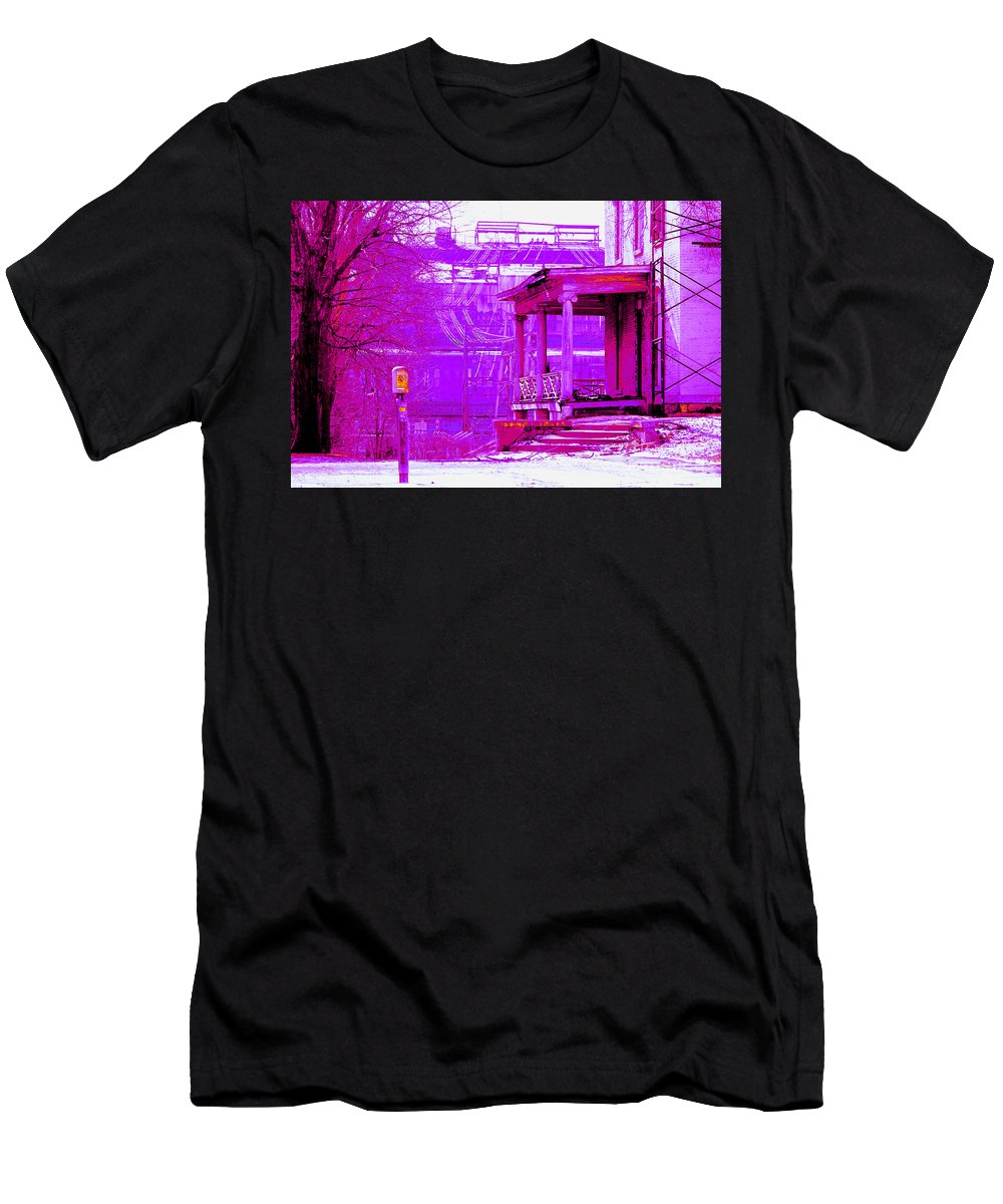 Neon Men's T-Shirt (Athletic Fit) featuring the photograph Deterioration In Neon by Laura Birr Brown