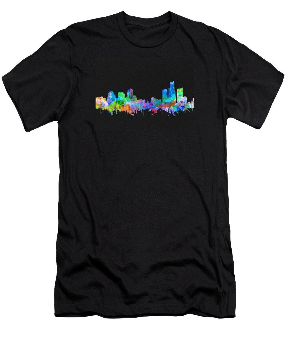 Detroit Men's T-Shirt (Athletic Fit) featuring the painting Detroit Skyline Watercolor 3 by Bekim Art