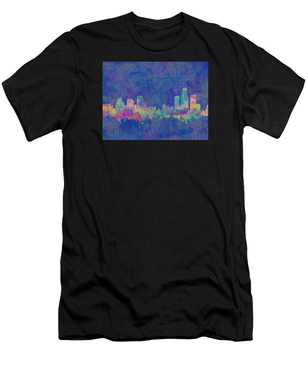 Detroit Men's T-Shirt (Athletic Fit) featuring the painting Detroit Skyline Watercolor Blue 3 by Bekim Art