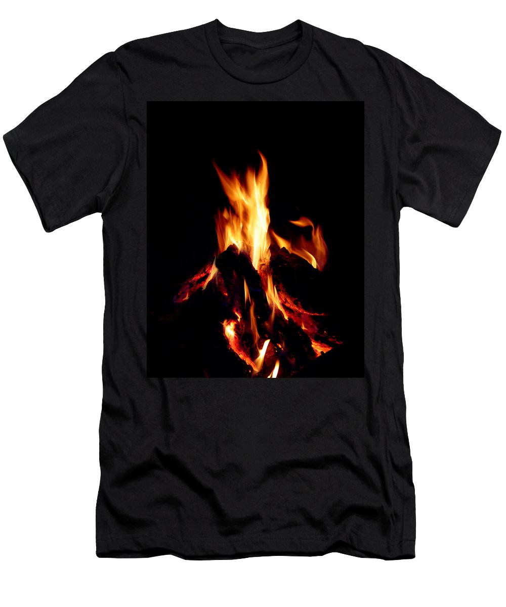 Devil Men's T-Shirt (Athletic Fit) featuring the photograph Devil Fire by Peter Piatt