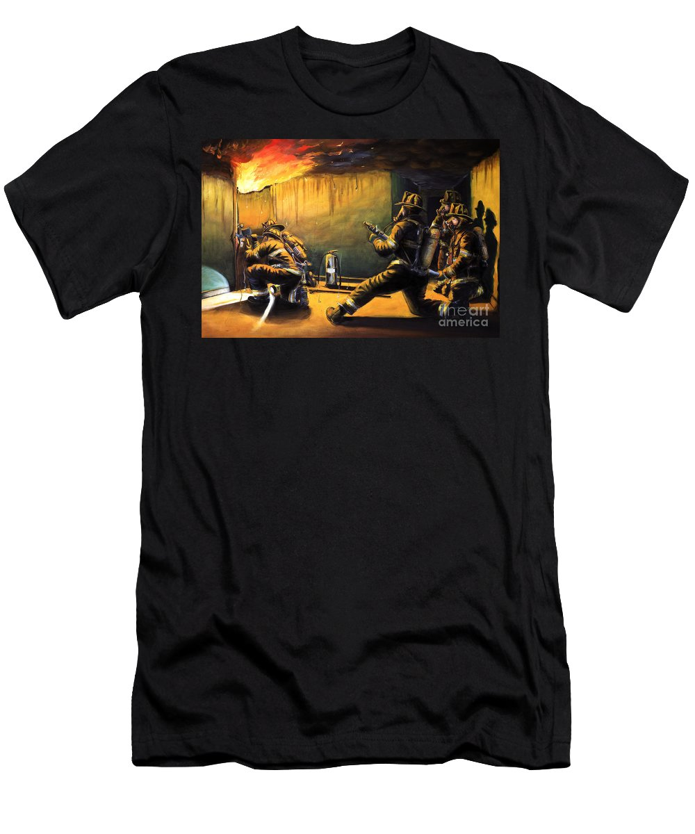 Firefighting Men's T-Shirt (Athletic Fit) featuring the painting Devil's Doorway II by Paul Walsh