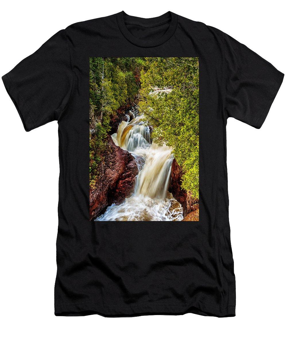 Devils Kettle Men's T-Shirt (Athletic Fit) featuring the photograph Devil's Kettle Falls by Susan Rissi Tregoning