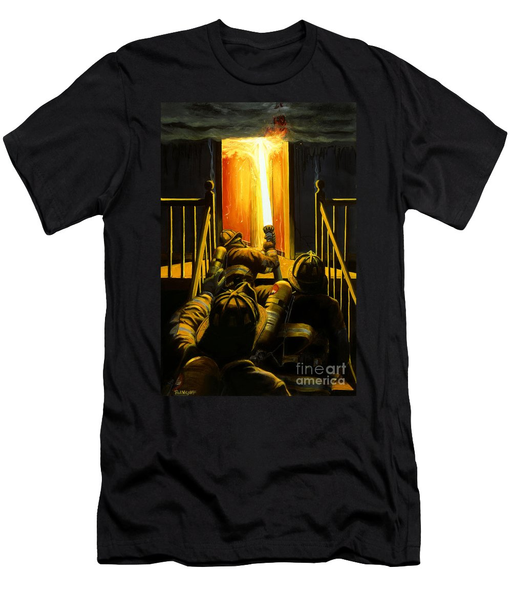 Firefighting Men's T-Shirt (Athletic Fit) featuring the painting Devil's Stairway by Paul Walsh