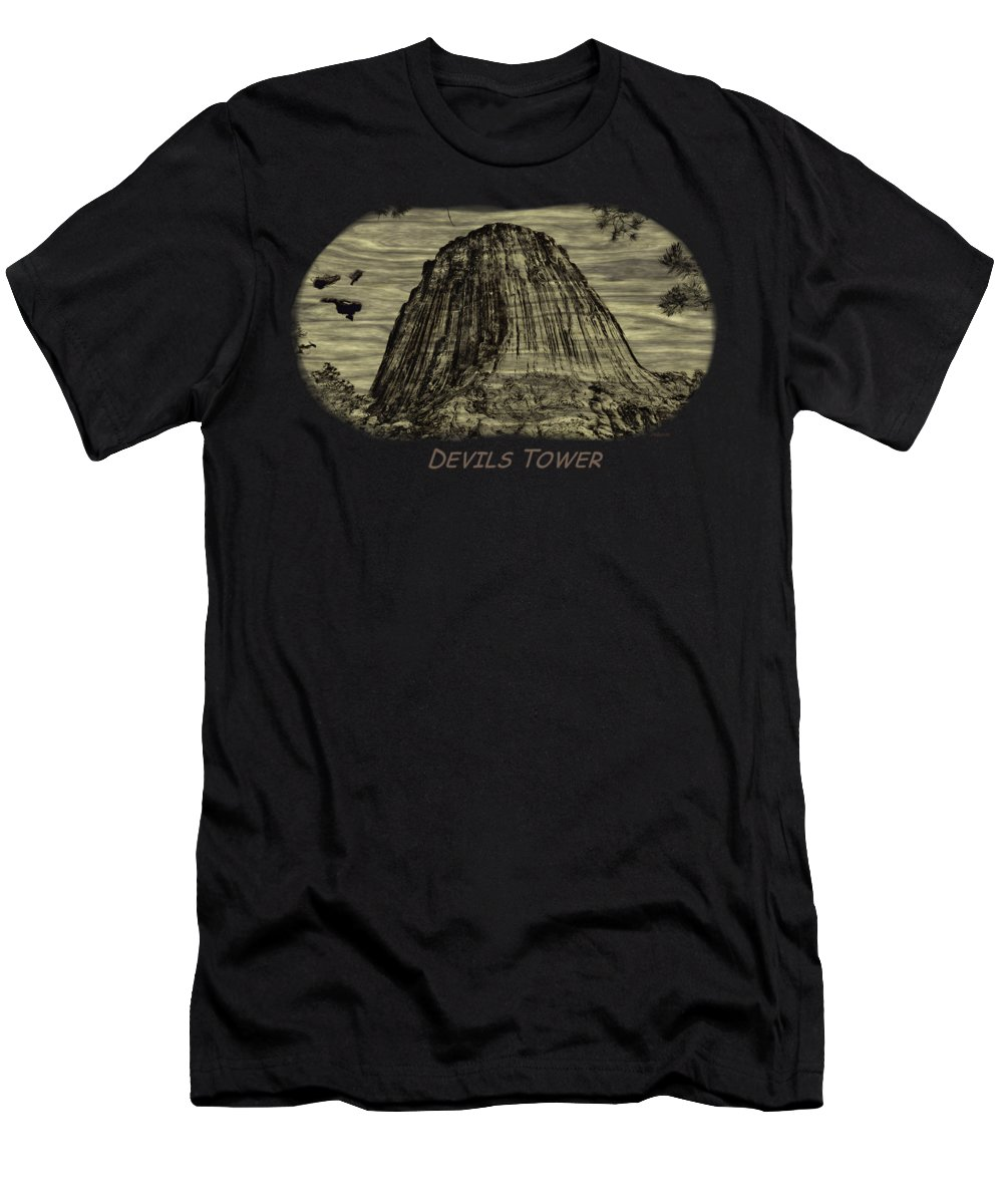 Landscape Men's T-Shirt (Athletic Fit) featuring the photograph Devils Tower Woodburning 2 by John M Bailey