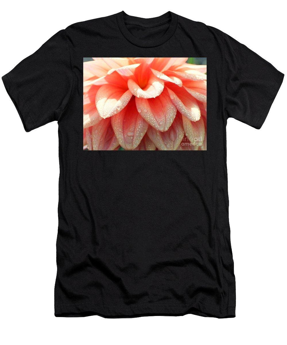 Dahlias Men's T-Shirt (Athletic Fit) featuring the photograph Dew -drops On The Dahlia 2 by Jane Powell