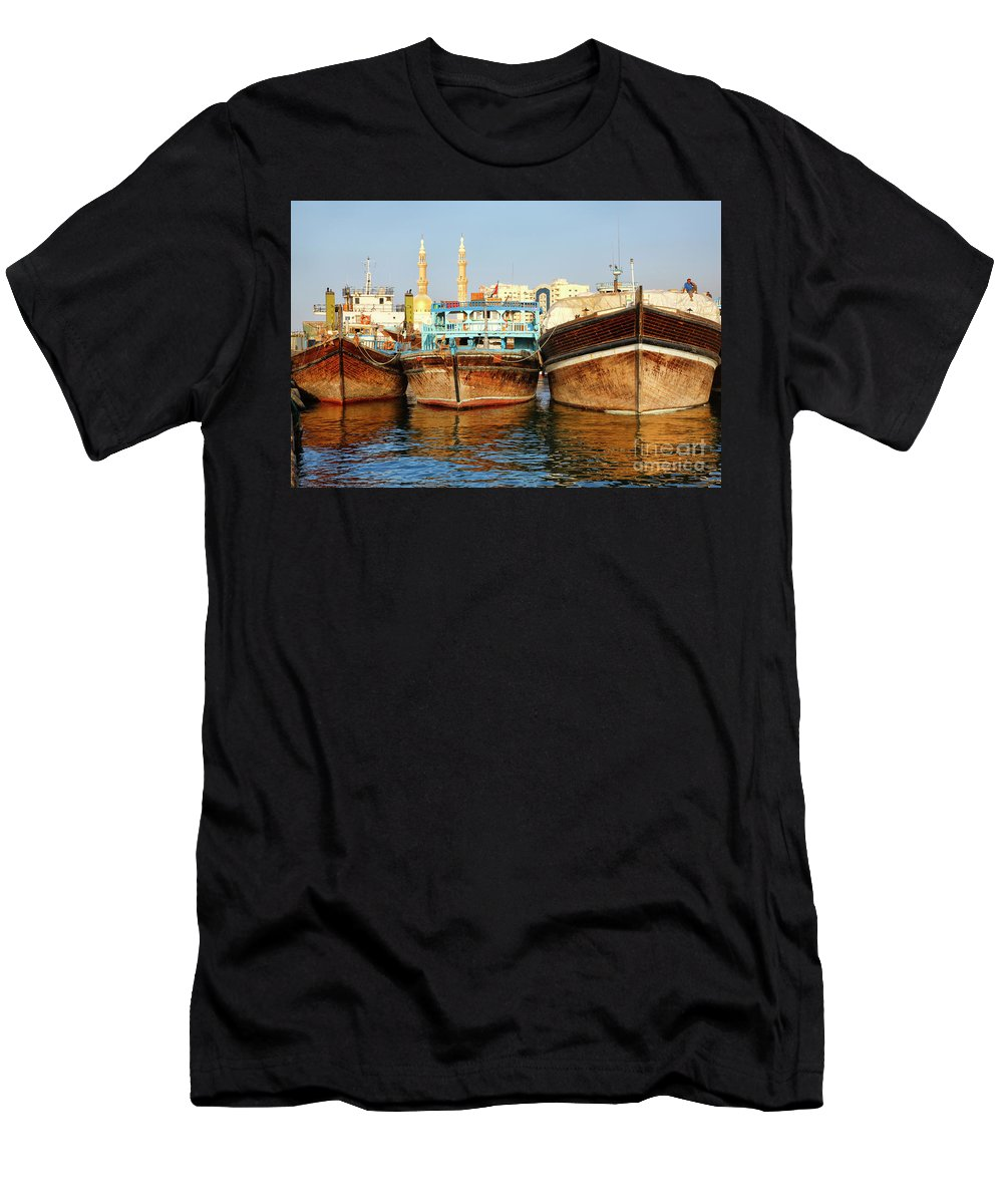 Dubai Men's T-Shirt (Athletic Fit) featuring the photograph Dhow by Nino Marcutti