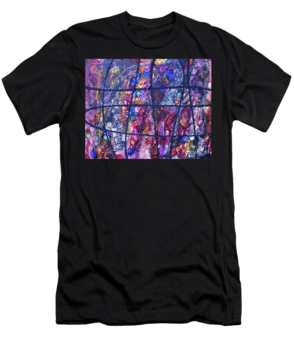 Keith Elliott Men's T-Shirt (Athletic Fit) featuring the painting Diabolical Madness - V1rse40 by Keith Elliott