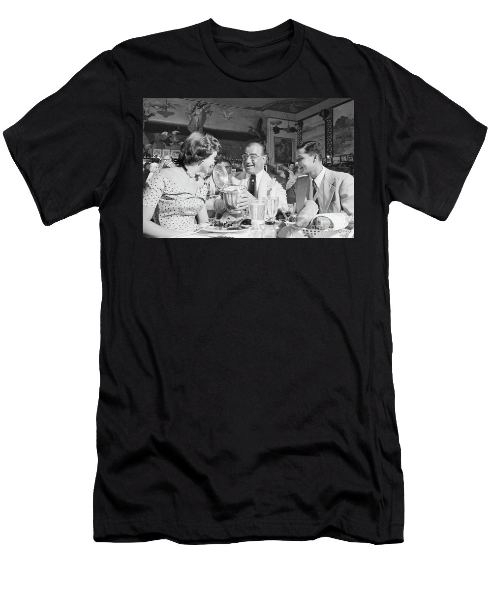 Diamond Jim Moran Men's T-Shirt (Athletic Fit) featuring the photograph Diamond Jim Moran, Entertaining Guests At His Restaurant In New by The Harrington Collection
