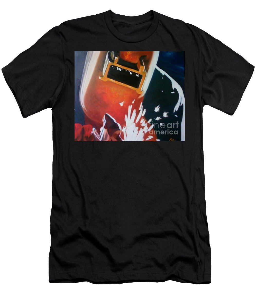 Welder Paintings Men's T-Shirt (Athletic Fit) featuring the painting Dida by Annalise Kucan