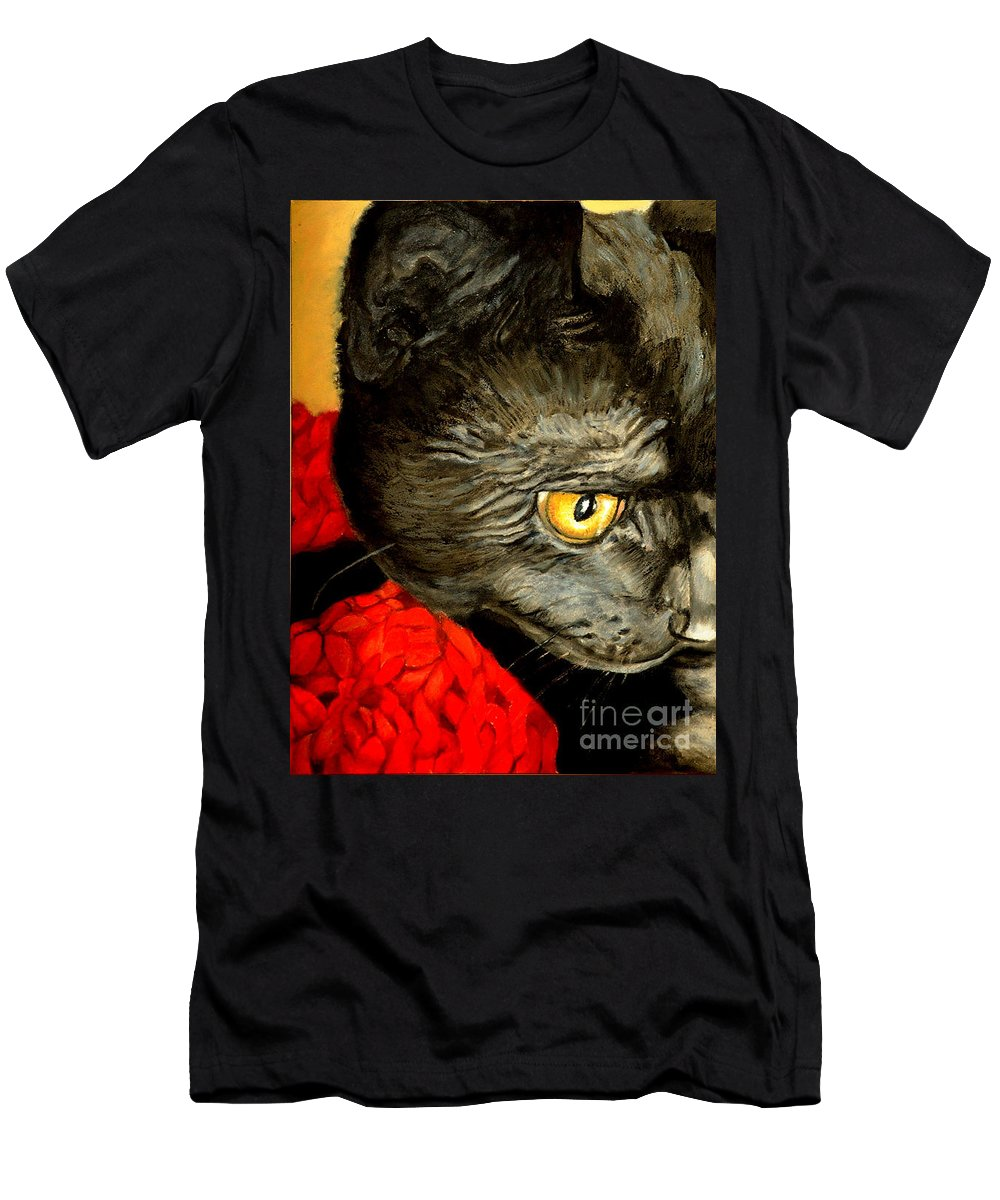 Animal Painting Men's T-Shirt (Athletic Fit) featuring the painting Diego The Cat by Portraits By NC