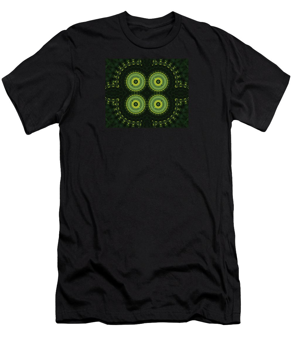 Kaleidoscope Men's T-Shirt (Athletic Fit) featuring the photograph Dill Weed Flower Wheels by M E Cieplinski