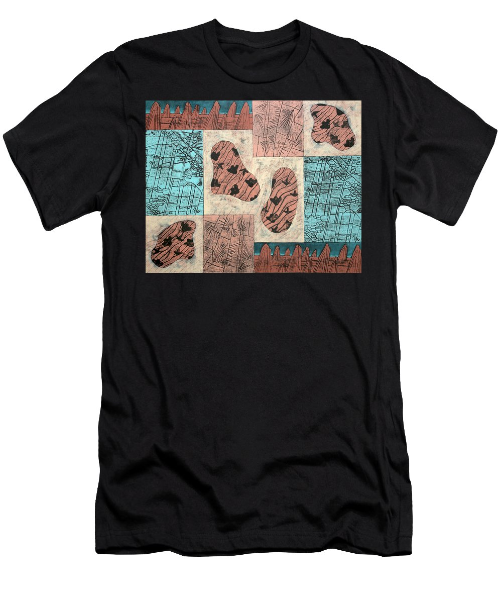 Dinosaur Men's T-Shirt (Athletic Fit) featuring the painting Dinosaur Ridge by Diana Perfect