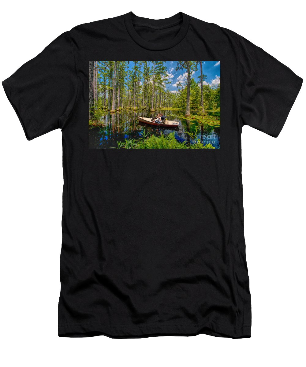 South Carolina Men's T-Shirt (Athletic Fit) featuring the photograph Discovery In A Cypress Swamp by Dan Carmichael