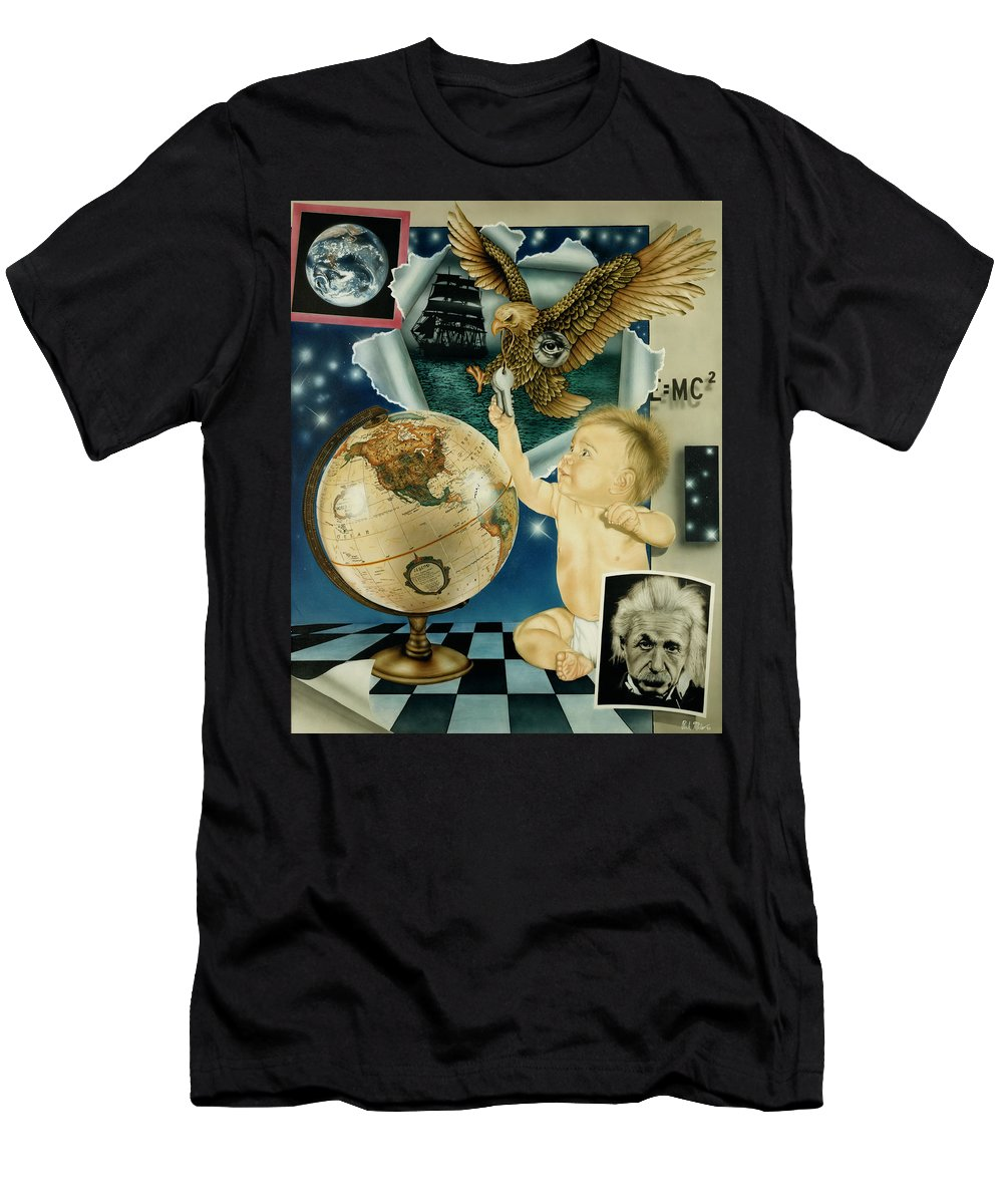 Realism Men's T-Shirt (Athletic Fit) featuring the painting Discovery Of The New World by Rich Milo