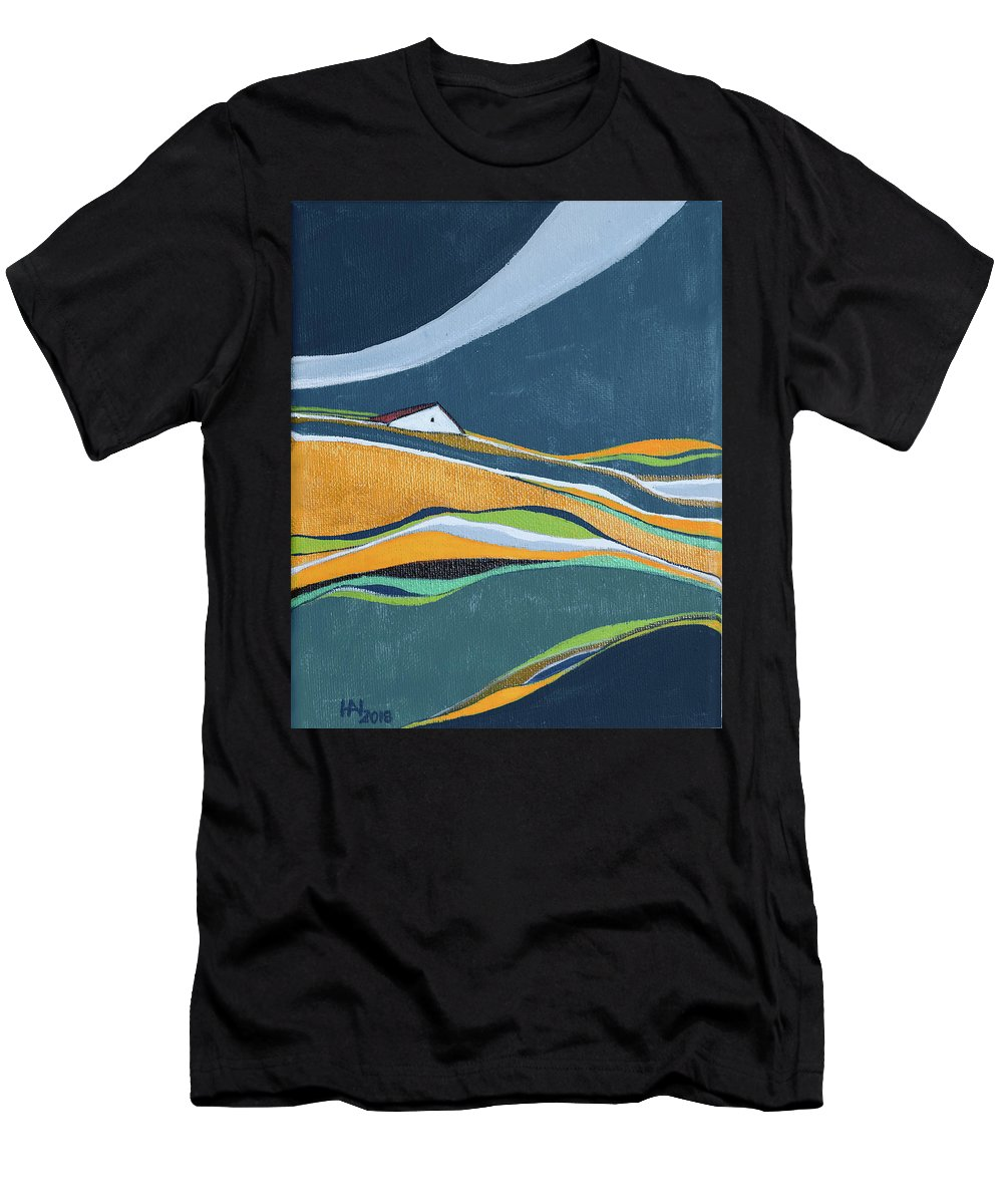 Abstract T-Shirt featuring the painting Distant house by Aniko Hencz