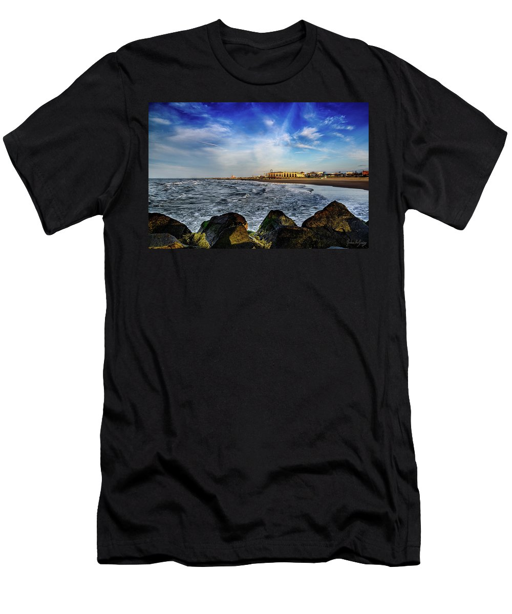 J. Zaring Men's T-Shirt (Athletic Fit) featuring the photograph Distant Pier by Joshua Zaring