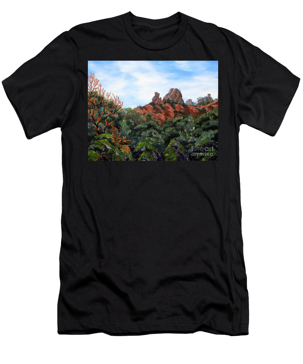 California Men's T-Shirt (Athletic Fit) featuring the painting Distant View Of High Peaks by Laura Iverson