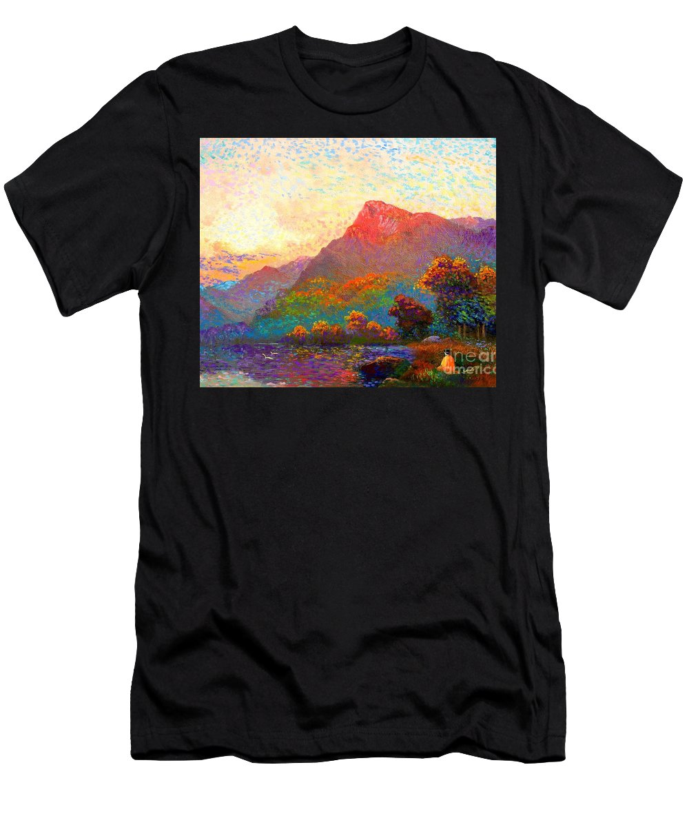 Meditation Men's T-Shirt (Athletic Fit) featuring the painting Buddha Meditation, Divine Light by Jane Small