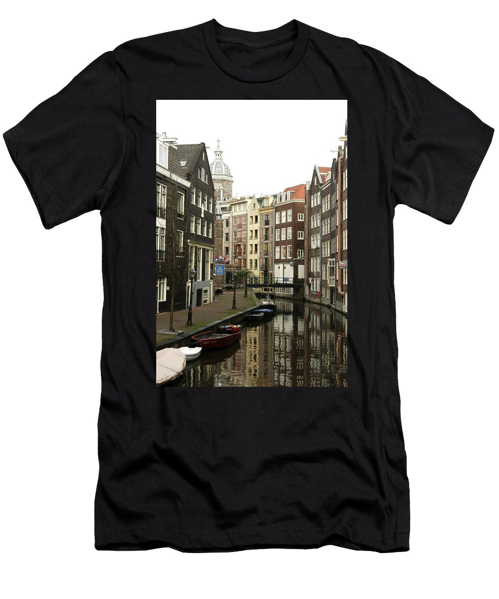 Landscape Amsterdam Red Light District Men's T-Shirt (Athletic Fit) featuring the photograph Dnrh1101 by Henry Butz