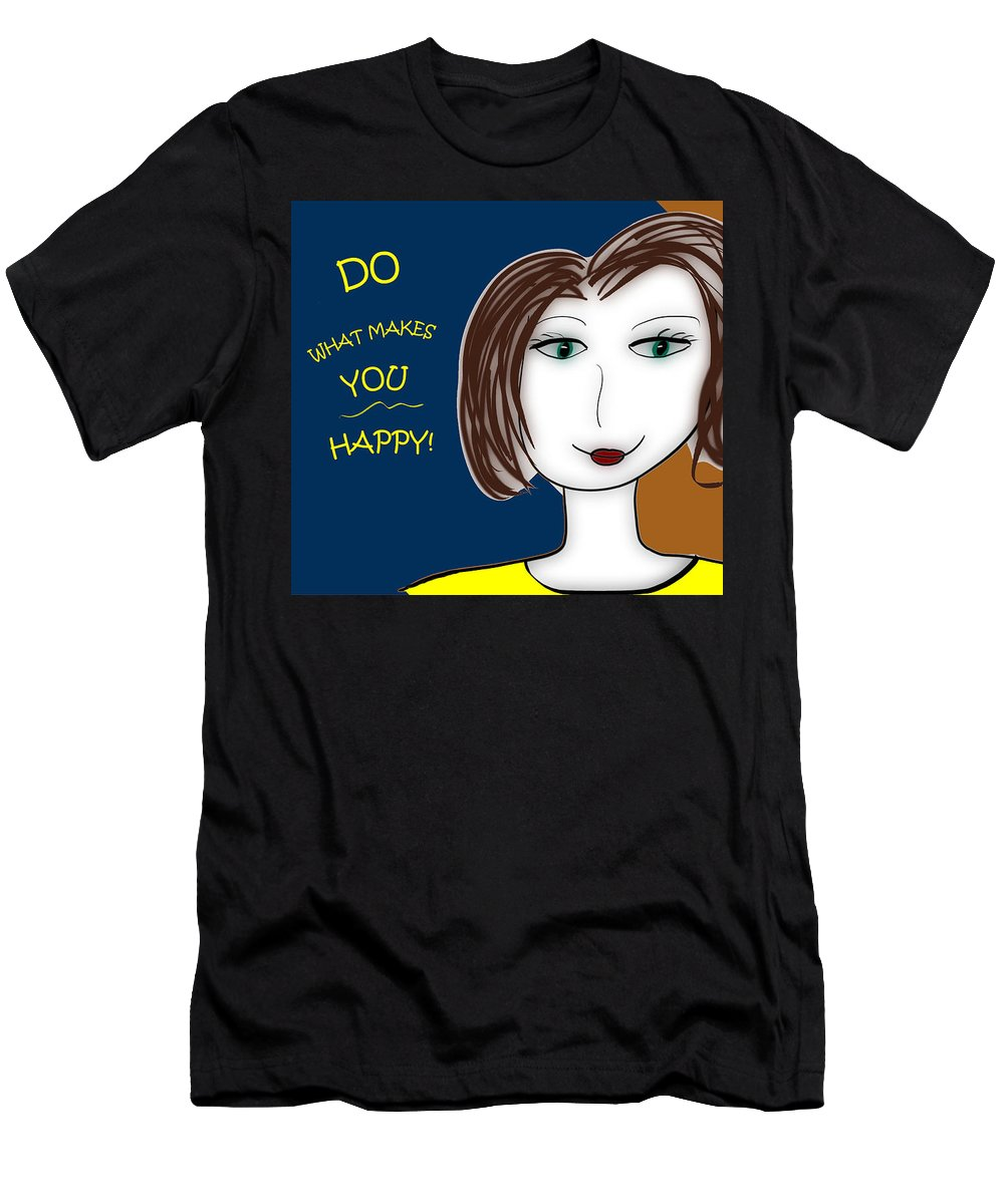 Inspire Men's T-Shirt (Athletic Fit) featuring the drawing Do What Makes You Happy by Sharon Augustin