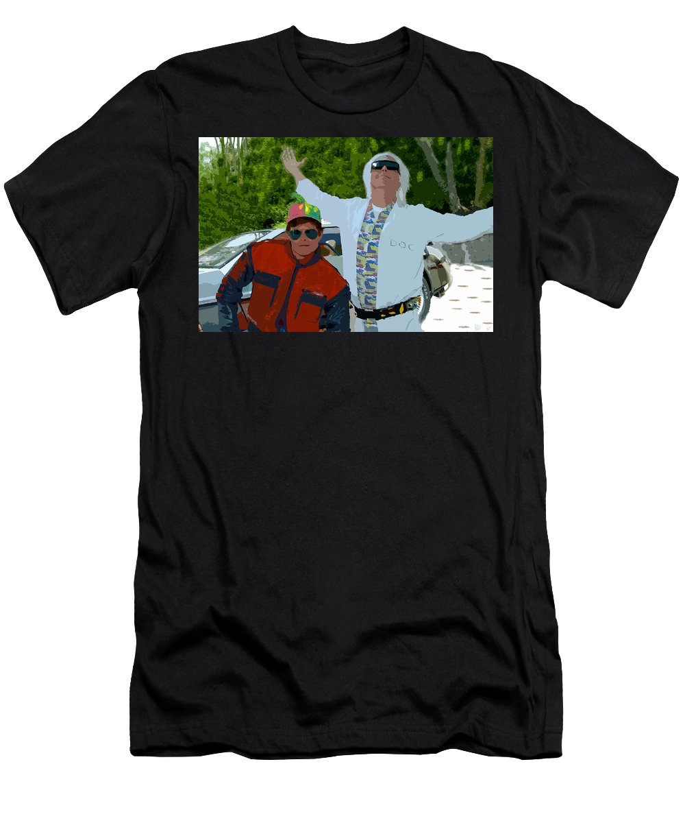 Back To The Future Men's T-Shirt (Athletic Fit) featuring the painting Doc And Marty by David Lee Thompson