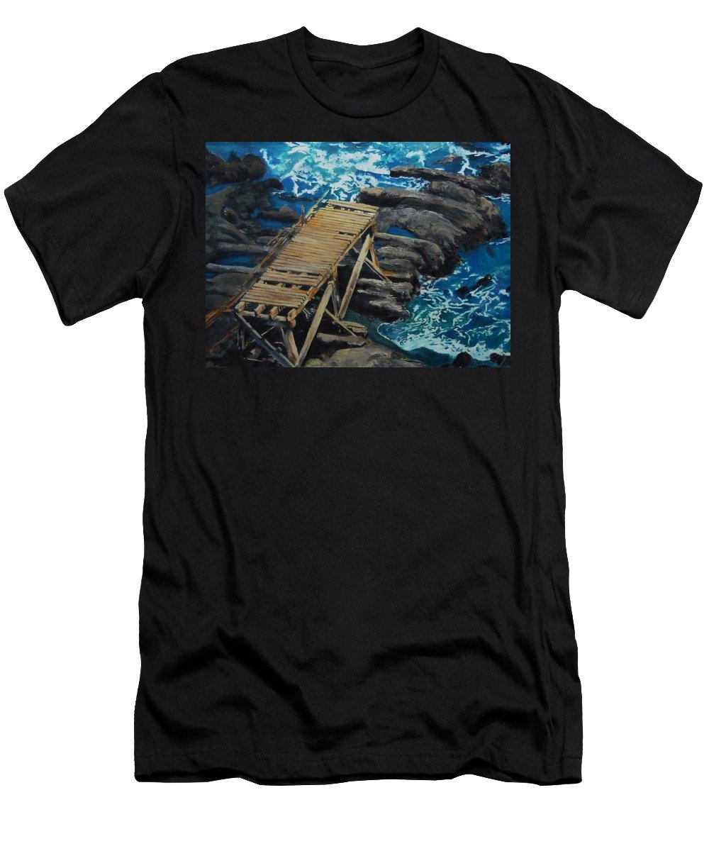 Dock Men's T-Shirt (Athletic Fit) featuring the painting Dock by Travis Day