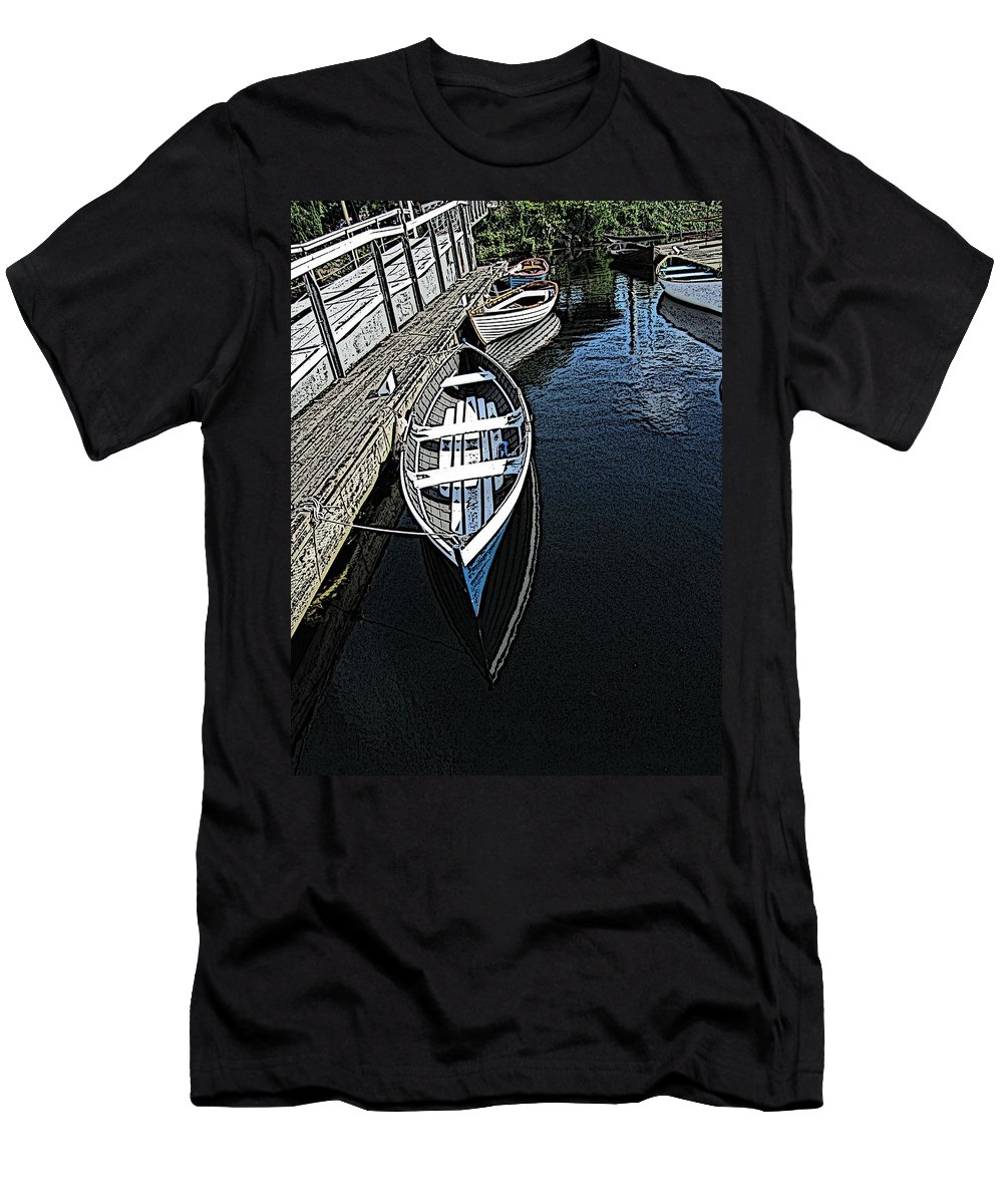 Dock Men's T-Shirt (Athletic Fit) featuring the digital art Dockside Quietude by Tim Allen