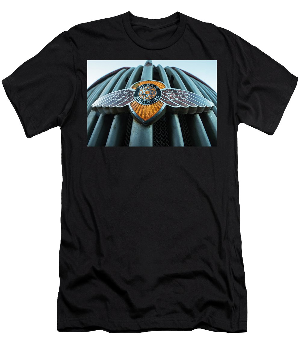 Jerome Men's T-Shirt (Athletic Fit) featuring the photograph Dodge Brothers Emblem Jerome Az by Toby McGuire