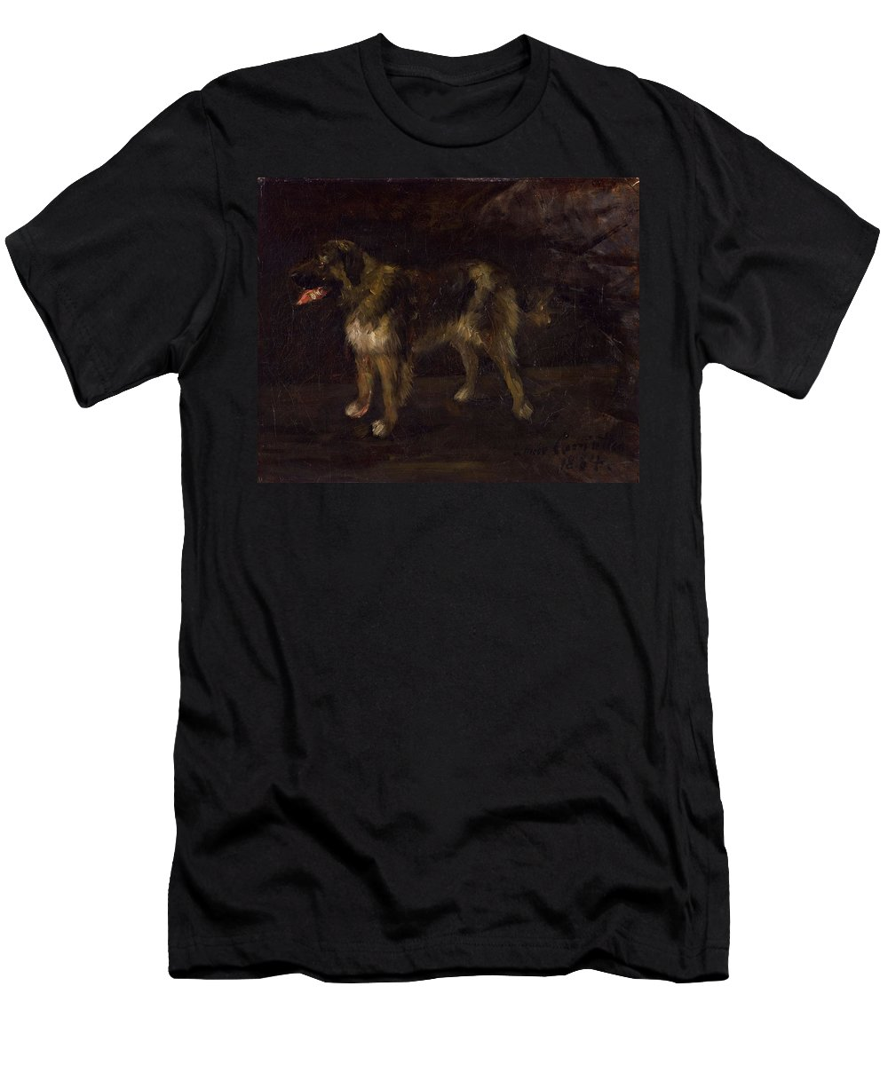 Lovis Corinth 1858-1925 Dog Study Men's T-Shirt (Athletic Fit) featuring the painting Dog Study by Lovis Corinth