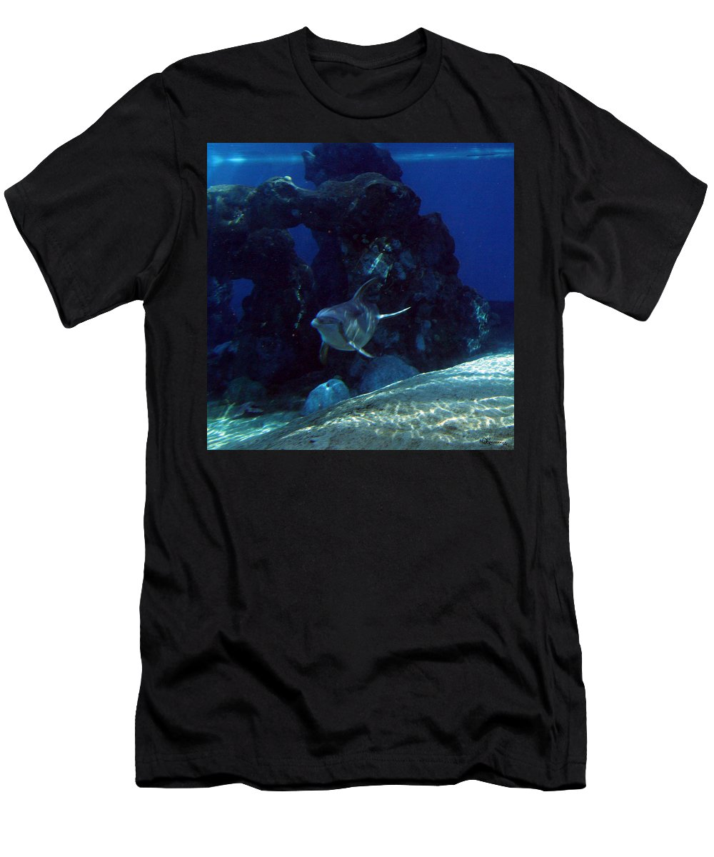 Dolphin Fish Aquatic Life Water Aquarium Sea Sandy Shore Rock Reef Men's T-Shirt (Athletic Fit) featuring the photograph Dolphin by Andrea Lawrence