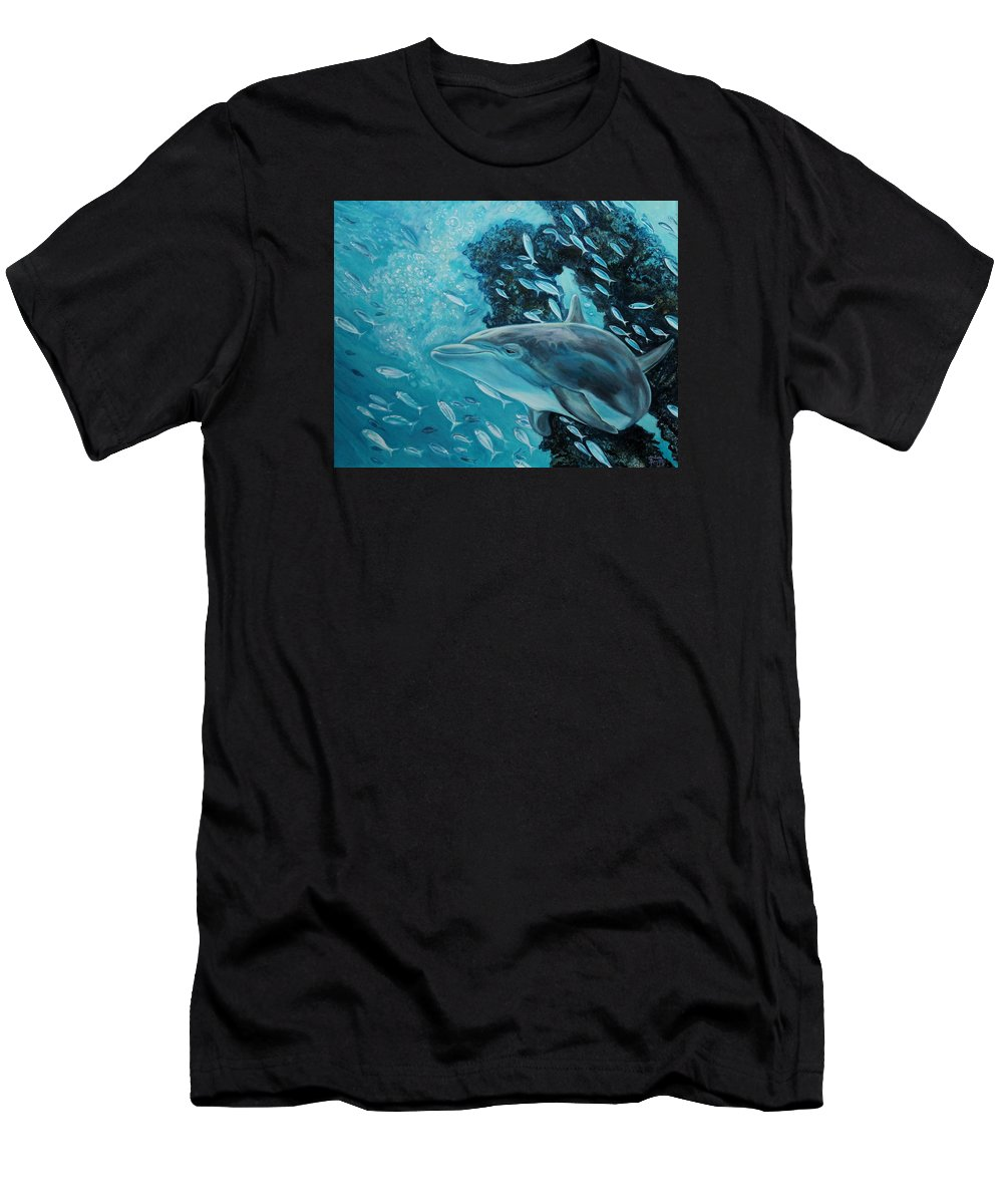 Underwater Scene Men's T-Shirt (Athletic Fit) featuring the painting Dolphin With Small Fish by Diann Baggett
