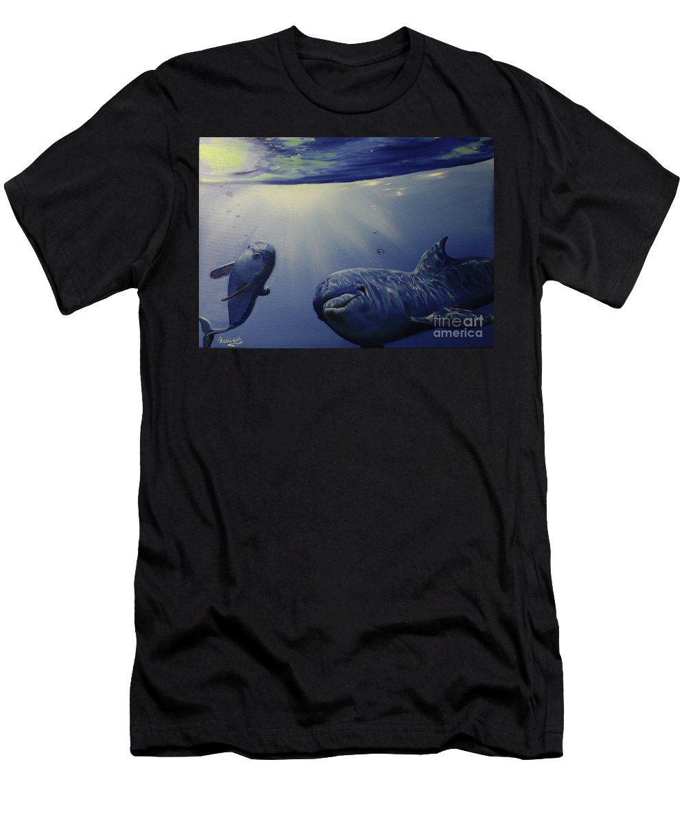 Dolphins In Underwater Game Men's T-Shirt (Athletic Fit) featuring the painting Dolphins Underwater Game by Roman Zaric