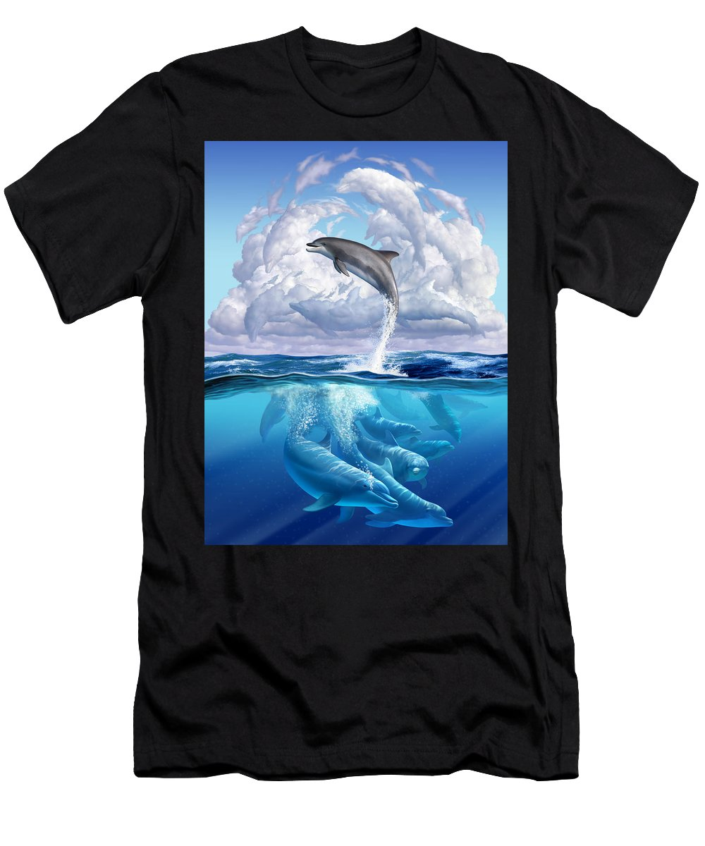 Dolphins Men's T-Shirt (Athletic Fit) featuring the digital art Dolphonic Symphony by Jerry LoFaro