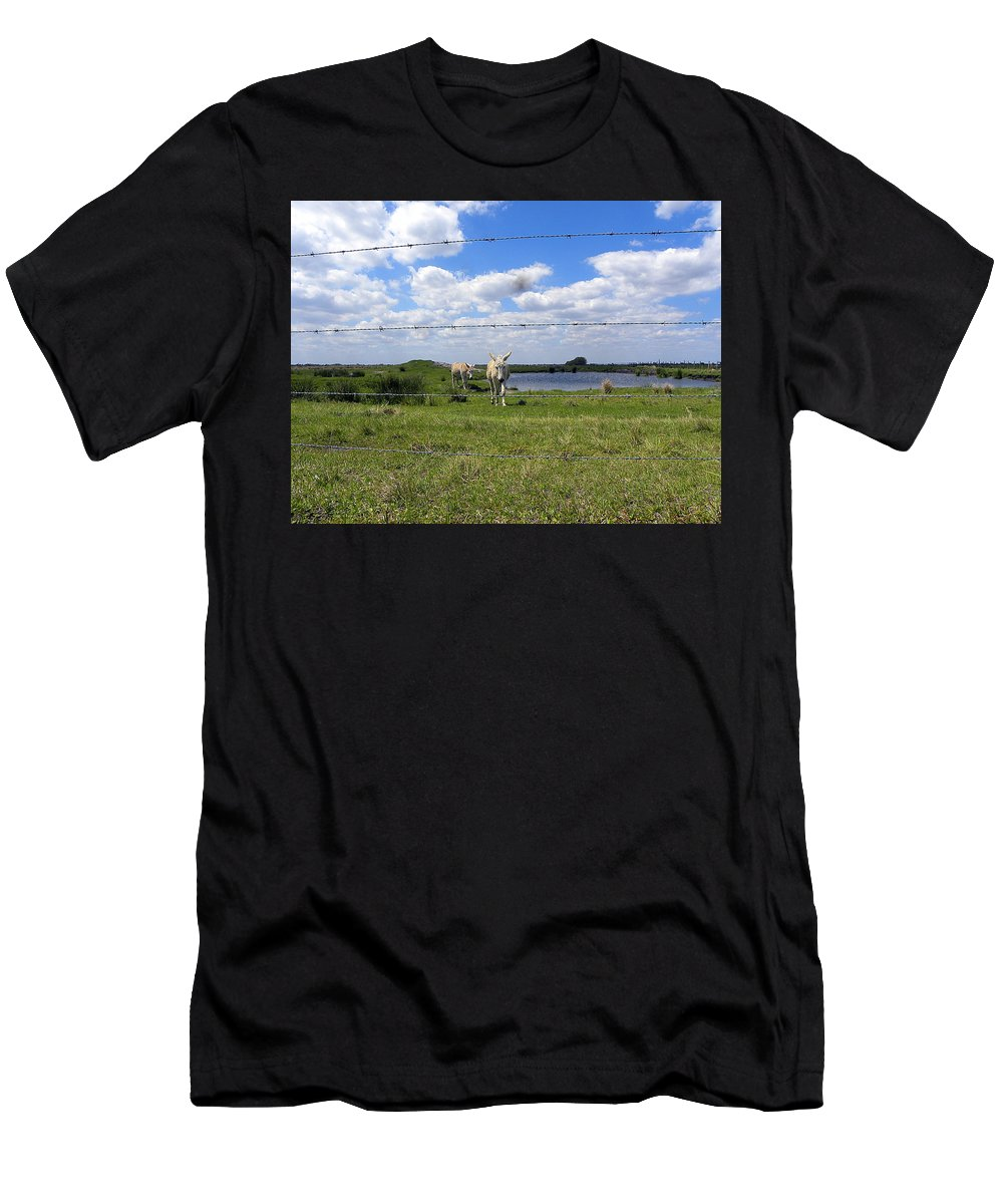 Horse Men's T-Shirt (Athletic Fit) featuring the photograph Don't Fence Me In by Chris Mercer