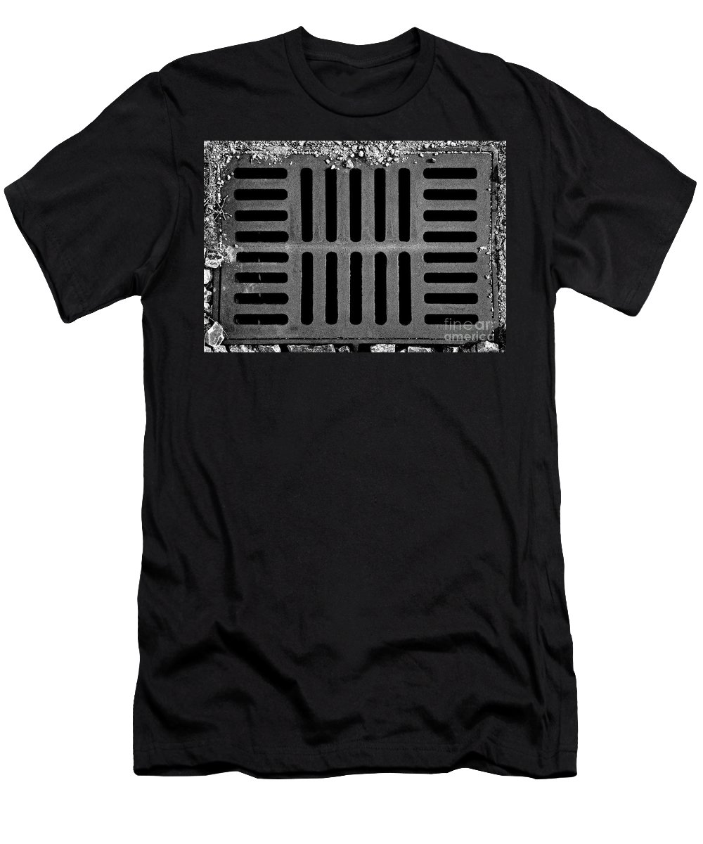 Digital Black And White Photo Men's T-Shirt (Athletic Fit) featuring the photograph Don't Forget The Drains Bw by Tim Richards