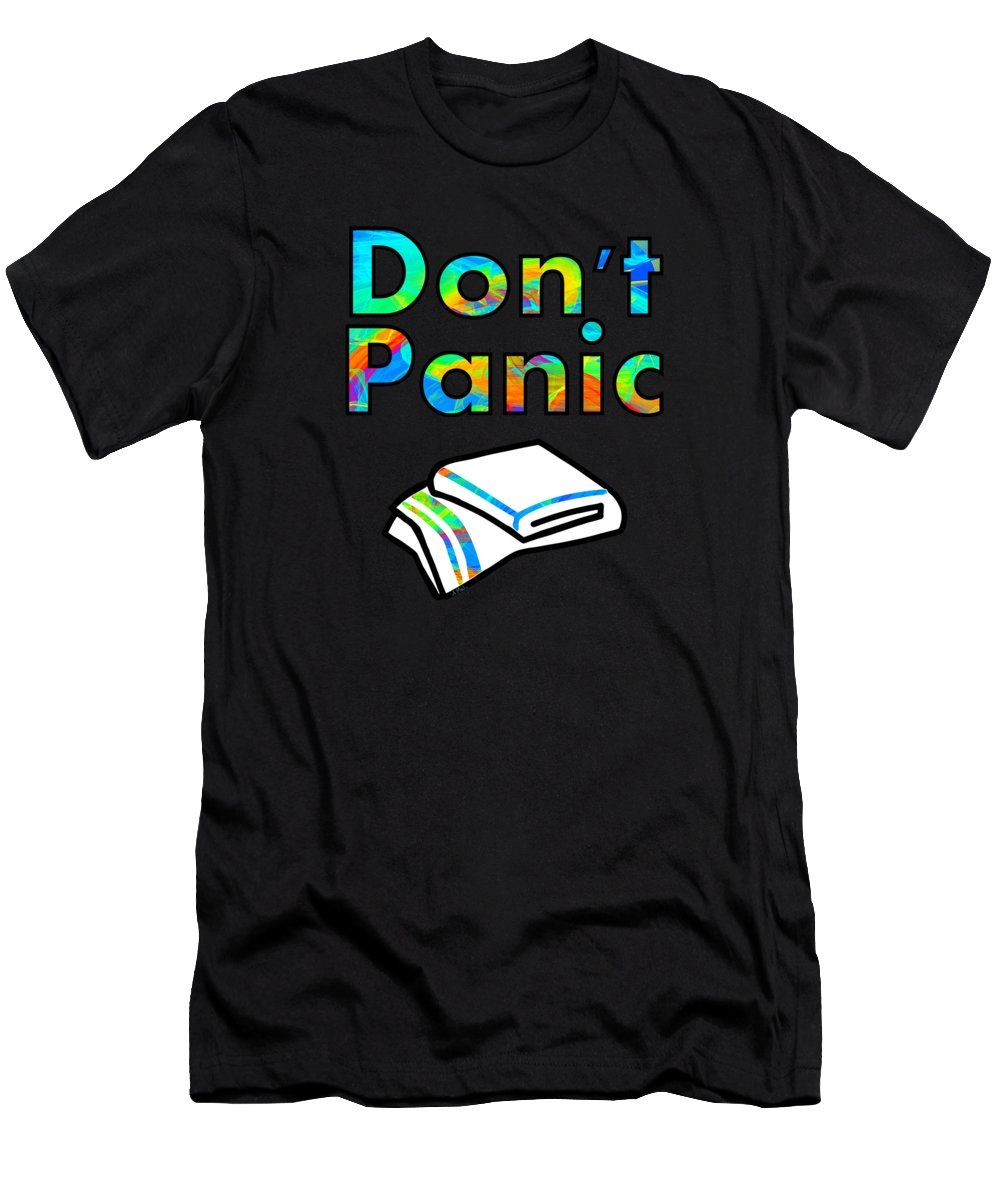Guide Men's T-Shirt (Athletic Fit) featuring the mixed media Don't Panic by Anastasiya Malakhova