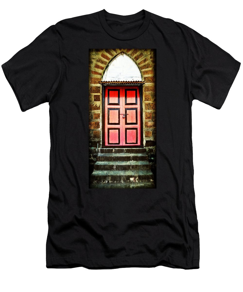 Men's T-Shirt (Athletic Fit) featuring the photograph Door by Charuhas Images
